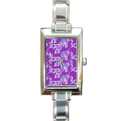 Cute Violet Elephants Pattern Rectangle Italian Charm Watch by DanaeStudio