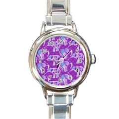 Cute Violet Elephants Pattern Round Italian Charm Watch by DanaeStudio