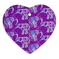 Cute Violet Elephants Pattern Ornament (heart)  by DanaeStudio