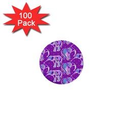 Cute Violet Elephants Pattern 1  Mini Buttons (100 Pack)  by DanaeStudio
