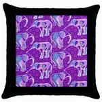 Cute Violet Elephants Pattern Throw Pillow Case (Black)