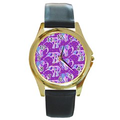 Cute Violet Elephants Pattern Round Gold Metal Watch by DanaeStudio
