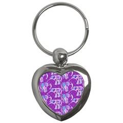 Cute Violet Elephants Pattern Key Chains (heart)  by DanaeStudio