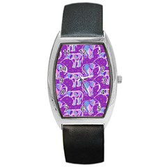 Cute Violet Elephants Pattern Barrel Style Metal Watch by DanaeStudio