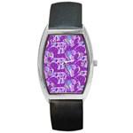 Cute Violet Elephants Pattern Barrel Style Metal Watch