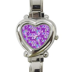 Cute Violet Elephants Pattern Heart Italian Charm Watch by DanaeStudio