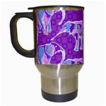 Cute Violet Elephants Pattern Travel Mugs (White)