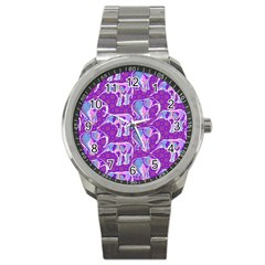 Cute Violet Elephants Pattern Sport Metal Watch by DanaeStudio