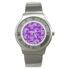 Cute Violet Elephants Pattern Stainless Steel Watch by DanaeStudio