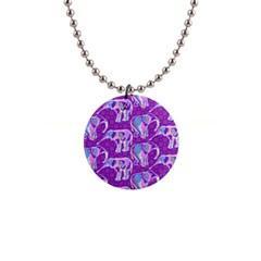 Cute Violet Elephants Pattern Button Necklaces by DanaeStudio