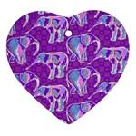 Cute Violet Elephants Pattern Heart Ornament (2 Sides)