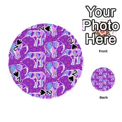 Cute Violet Elephants Pattern Playing Cards 54 (round)  by DanaeStudio