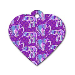 Cute Violet Elephants Pattern Dog Tag Heart (one Side) by DanaeStudio