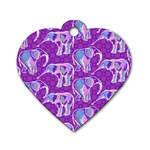 Cute Violet Elephants Pattern Dog Tag Heart (Two Sides)