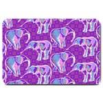 Cute Violet Elephants Pattern Large Doormat