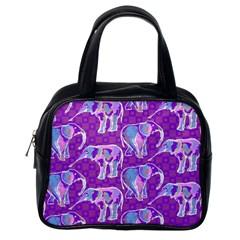 Cute Violet Elephants Pattern Classic Handbags (one Side) by DanaeStudio
