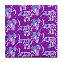 Cute Violet Elephants Pattern Face Towel by DanaeStudio