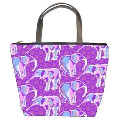 Cute Violet Elephants Pattern Bucket Bags by DanaeStudio