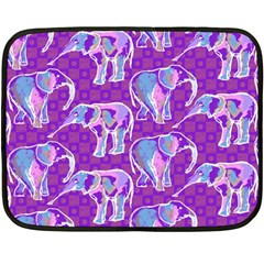 Cute Violet Elephants Pattern Double Sided Fleece Blanket (mini)  by DanaeStudio