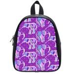 Cute Violet Elephants Pattern School Bags (Small)