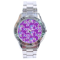 Cute Violet Elephants Pattern Stainless Steel Analogue Watch by DanaeStudio