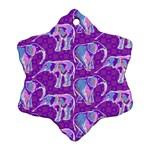 Cute Violet Elephants Pattern Snowflake Ornament (2-Side)