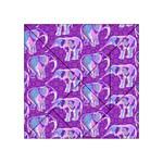 Cute Violet Elephants Pattern Acrylic Tangram Puzzle (4  x 4 )