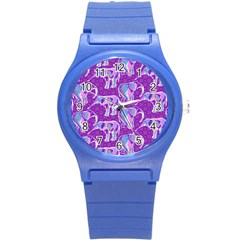 Cute Violet Elephants Pattern Round Plastic Sport Watch (s) by DanaeStudio