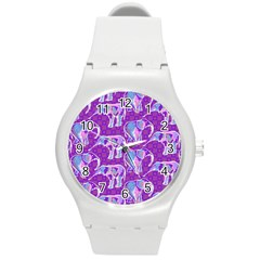 Cute Violet Elephants Pattern Round Plastic Sport Watch (m) by DanaeStudio