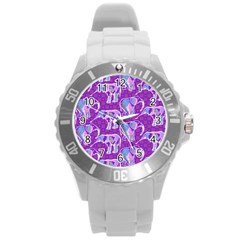 Cute Violet Elephants Pattern Round Plastic Sport Watch (l) by DanaeStudio