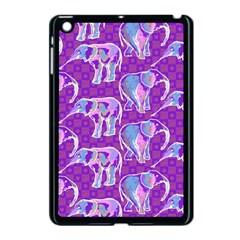 Cute Violet Elephants Pattern Apple Ipad Mini Case (black) by DanaeStudio