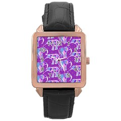 Cute Violet Elephants Pattern Rose Gold Leather Watch  by DanaeStudio