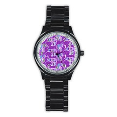 Cute Violet Elephants Pattern Stainless Steel Round Watch by DanaeStudio