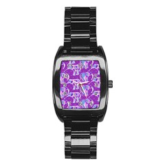 Cute Violet Elephants Pattern Stainless Steel Barrel Watch by DanaeStudio