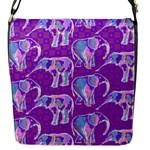 Cute Violet Elephants Pattern Flap Messenger Bag (S)