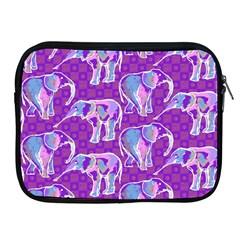 Cute Violet Elephants Pattern Apple Ipad 2/3/4 Zipper Cases by DanaeStudio
