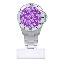 Cute Violet Elephants Pattern Plastic Nurses Watch by DanaeStudio