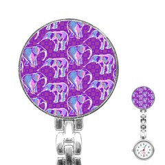 Cute Violet Elephants Pattern Stainless Steel Nurses Watch by DanaeStudio
