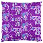Cute Violet Elephants Pattern Large Flano Cushion Case (One Side)