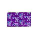 Cute Violet Elephants Pattern Cosmetic Bag (XS)