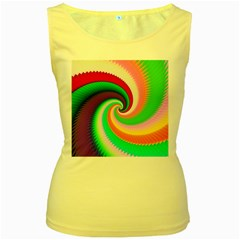 Colorful Spiral Dragon Scales   Women s Yellow Tank Top by designworld65