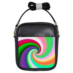 Colorful Spiral Dragon Scales   Girls Sling Bags by designworld65