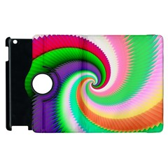 Colorful Spiral Dragon Scales   Apple Ipad 2 Flip 360 Case by designworld65