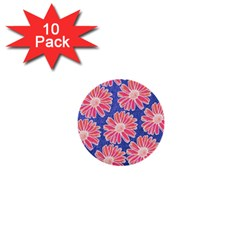 Pink Daisy Pattern 1  Mini Buttons (10 Pack)  by DanaeStudio