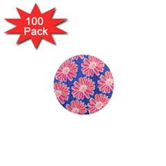 Pink Daisy Pattern 1  Mini Magnets (100 Pack)  by DanaeStudio