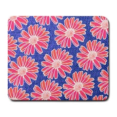 Pink Daisy Pattern Large Mousepads by DanaeStudio
