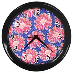 Pink Daisy Pattern Wall Clocks (black) by DanaeStudio