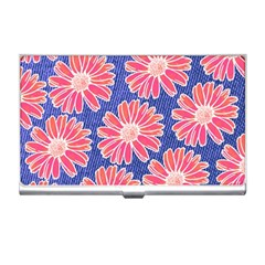 Pink Daisy Pattern Business Card Holders by DanaeStudio