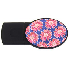 Pink Daisy Pattern Usb Flash Drive Oval (2 Gb)  by DanaeStudio