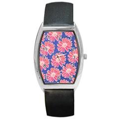 Pink Daisy Pattern Barrel Style Metal Watch by DanaeStudio